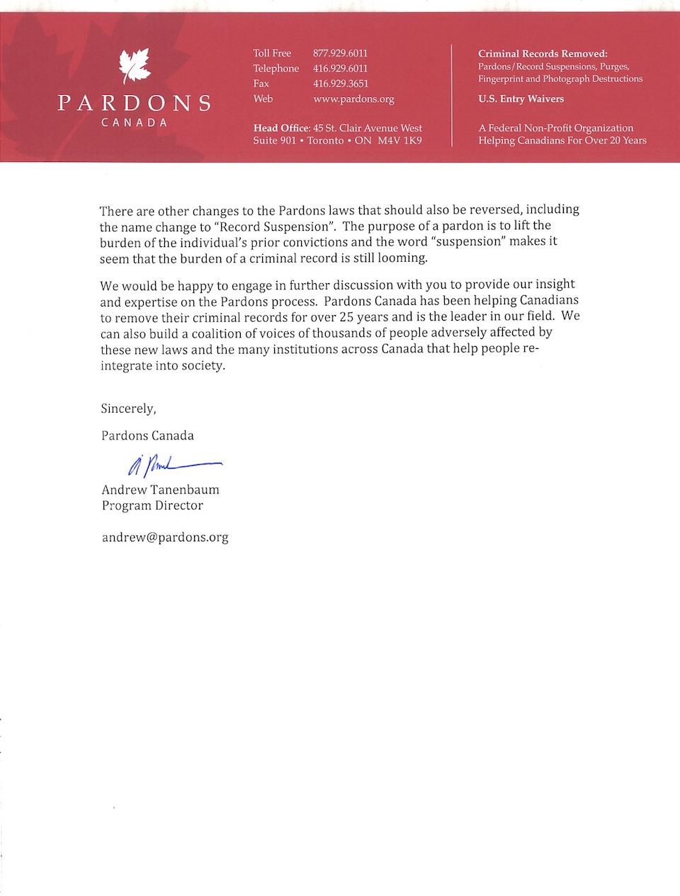 pardons canada open letter 2