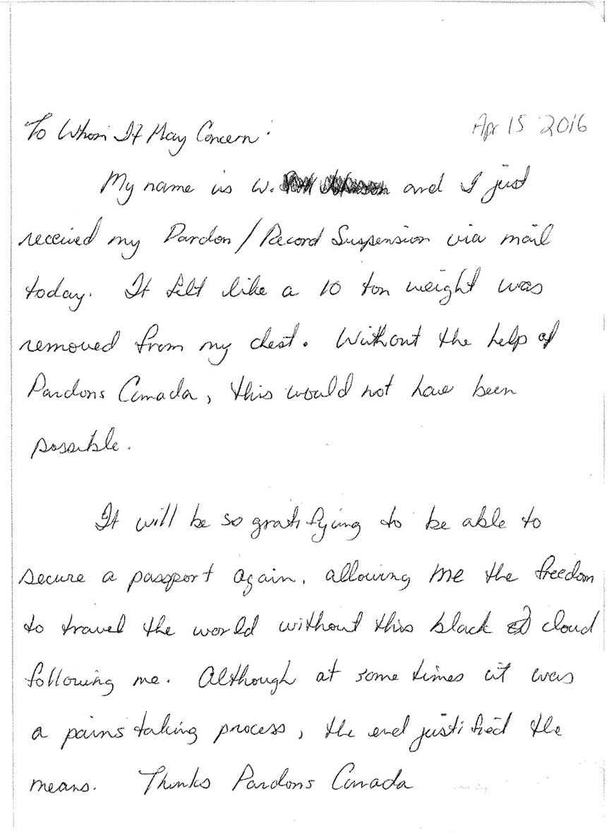 pardons canada testimonial